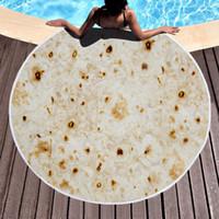 toalla de baño a casa al por mayor-Burrito Toalla de Playa Manta de Maíz Redonda 150 cm Toallas de Baño Hogar Poliéster Estera de Yoga Mantas de Verano Tacos toalla de playa GGA1849