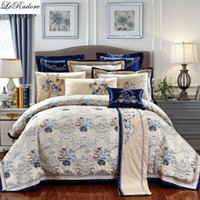 Wholesale red purple bedspreads online - LeRadore Luxury Embroidery Bed Linen for Wedding Bedding Sets King Queen Size Duvet Cover Sheet Bedspread Pillowcases Cushions