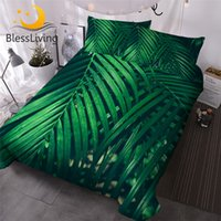 Wholesale green jungle for sale - Group buy BlessLiving Green Leaf Bedding Set King Leaves Texture Duvet Cover Jungle Tropical Palm Foliage Home Textiles Piece Bedspreads