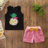 color negro chalecos chicas al por mayor-juegos de niña trajes de 2 piezas Chica Rejilla negro Encantador de piña estampado tops + pantalones cortos de color rosa pantalones conjuntos ropa de niña