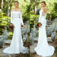 Wholesale mermaid wedding gowns kitty chen for sale - Group buy Long Sleeve Mermaid Wedding Dresses Kitty Chen Spaghetti Straps Side Split Bridal Gowns Sexy Lace Back Plus Size Wedding Dress