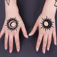 Wholesale tatoo flashes for sale - Group buy Waterproof Temporary Tattoo Stickers sun fixed star moon Fake Tatto Flash Tatoo Body Art tattoos for Girl Women Men kid
