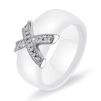 verlobungshochzeit ringe größe großhandel-Kristall Fabala X Kreuz Hochzeitspaar Ringe Keramik Größe 8-12 Engagement