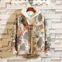 tarz ceket korece adam toptan satış-2018 Erkek Ceketler Adam Vintage Çiçekli Nakış Temel Pamuk Ceket Erkek Kore Tarzı Sonbahar Streetwear Winterbreaker