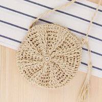 Wholesale handmade pockets for sale - Group buy 1messenger Women Handbags Simple Round Fringed Female Slung Straw Handmade Shoulder Woven Summer Beach Bag