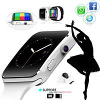 zte telefon sim karte großhandel-Smart Watch X6 Smartwatch mit Kamera Touch Curved Screen Unterstützung SIM TF-Karte Bluetooth Armbanduhr für ZTE Huawei Samsung Android Phone