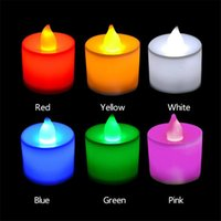 Wholesale party decorating led lights resale online - 6 Colours LED Flameless Candle Tea Light Creative LED Electronic Decorate Xmas Party Candlelight Dinner Candle Lamps