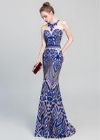 bela sereia de lantejoulas sereia venda por atacado-Bela Faísca Lantejoulas Lace Jewel Decote Sereia Vestidos de Baile royal blue / borgonha vestidos de noite robes de soirée Prom Vestidos