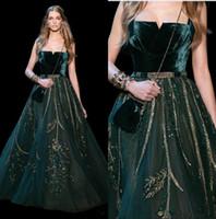 vestidos verdes del bosque al por mayor-Vestidos de noche formales de Forest Green de lujo sin tirantes sin respaldo de cristal con lentejuelas vestido de fiesta tren de barrido vestidos de fiesta de talla grande personalizados 4030