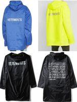 grauer string großhandel-2019 Neueste TOP Hip Hop Kanye West Mode Vetements One Size Männer Frauen Windjacke wasserdicht Regenmantel Jacke schwarz