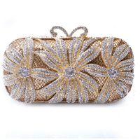 saco de strass floral venda por atacado-XIYUAN Embreagem de Cristal Floral Jantar Bolsa Branco Diamante Mulheres Noite Saco Embreagem Moda Rhinestone Ladies Banquet Bolsas
