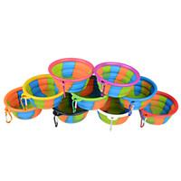 cuenco plegable para mascotas al por mayor-Camuflaje Pet Bowl Plegable plegable de silicona Puppy Bowl Con Mosquetón Portátil para mascotas Dog Bowl para viajes al aire libre Alimentación Alimentación de agua