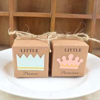 decoraciones de la fiesta de cumpleaños del príncipe al por mayor-Nuevo 10 UNIDS Little Princess Prince Wedding Candy Box Lindo Cumpleaños Regalo del bebé Decoración de la corona Cuerda Retro Suministros para fiestas Papel