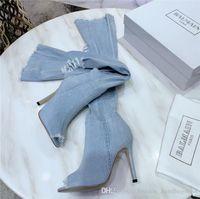 denim-peep toe großhandel-2019 Jean Boots Damen Overknee Stiefel, High Bottes mit Holes Heels Zipper in Jeans Schuhe Open Toe Schuhe