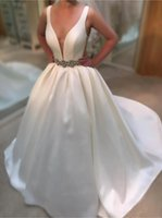 Wholesale white ball gown satin wedding dress for sale - Group buy Sexy A Line Wedding Dresses Deep V Neck White Satin Bridal Gowns Vintage Bridal Gowns Backless Sweep Train Beach Wedding Dress Cheap