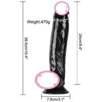 plug anal l al por mayor-100% de silicona médica consolador negro muy grueso 55 mm L 16 cm 10 velocidades que vibran pene trasero anal plug anal vibrador consolador juguete sexual