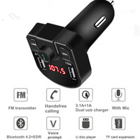 Wholesale power transmitters resale online - Bluetooth MP3 Player Handsfree Car Kit FM Transmitter support TF Card U disk QC2 A Fast Dual USB Charger Power Adapter