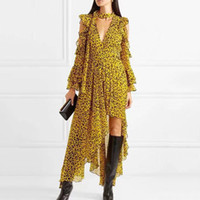 ingrosso abbigliamento vintage per le femmine-Abiti femminili leopardati per le donne Off spalla manica svasata asimmetrica orlo Backless Ruffles Dress Vintage Clothes
