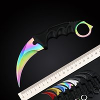 Wholesale hot selling camp knives for sale - Group buy Custom Logo Hot Selling CSGO Counter Strike Karambit Knife with Sheath Outdoor Hunting Survival Fighting Knife Camping Tool Gift for Man