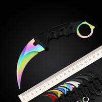 ingrosso coltelli da combattimento-Logo personalizzato Vendita Calda CSGO Counter Strike Karambit Coltello con Guaina Caccia Esterna Di Sopravvivenza Coltello Da Combattimento Strumento di Campeggio Regalo per l'uomo