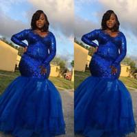 blaue spitze fußbodenlänge abschlussballkleid großhandel-2019 Afrikanische Meerjungfrau Royal Blue Lace Prom Kleider Lange Sexy Meerjungfrau Pailletten Bodenlangen Formale Party Abendkleider