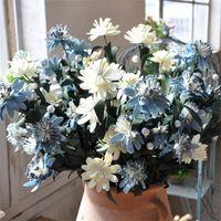 gerbera suni düğün çiçekleri toptan satış-Mavi Beyaz Gerbera Yapay Çiçekler Restoran Yatak Odası Masaüstü Ekran Düğün Romantik Manuel Sahte Çiçek Basit Ev Dekor 2 3lgD1