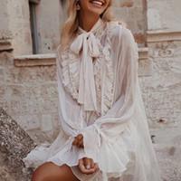 yeni parlama kıyafeti dantel kollu toptan satış-Ruffles Elbise Kadınlar Ilmek Lace Up Flare Uzun Kollu Gevşek Elbiseler Kadın 2019 Kore Tarzı Bahar Moda Yeni