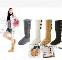 couro sobre botas de joelho venda por atacado-UG malha de lã Botão Botas UG Mulheres Winter Ankle Boots Austrália Marca Knitting Transformou-over Vaca Suede botas de neve sapatos de couro C101406