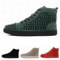 zapatos de punta en línea al por mayor-2020 nueva moda las botas para hombre alta superior zapatos de diseño de fondo con cordones con espigas zapatillas de deporte casuales zapatos rojos del partido de lujo de venta en línea