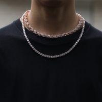 indische traumfänger halsketten großhandel-Hip-Hop Zicn Legierung Platin Diamant 9mm Golden Hanf Blumen Halskette Übertreibung Mann Halskette Luxus Clastic Männer Kette Modeschmuck