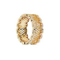 pandora china großhandel-Design Schmuck-CZ Ring S925 Sterling Silber-Ringe für Frauen 18K überzog Goldfarbe Honeycomb Ringe Pandora billig Großverkauf DHL