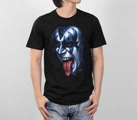 Gene Simmons The Demon Face KISS Hard Rock Band Retro VTG Style Men T-Shirt  S-XL Cool Tops Men S Short 7b78137c3672
