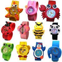 симпатичные девушки часы оптовых-Мода дети дети 3D мультфильм милые животные пощечину спортивные часы оптом мальчики девочки конфеты желе подарок на день рождения наручные часы