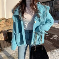 beyaz hırka korece toptan satış-Tatlı Kırpılmış Hırka Lazy Oaf Kış Triko Kadınlar Kore Sevimli Kawaii Örme Beyaz Sonbahar 2019 Jersey Mujer Casual Mavi Kazak