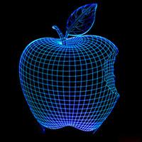 visión de las manzanas al por mayor-Forma de Apple Lámpara 3d colorida Segunda luz de la fuerza del gramo Visión Tridimensional Lámpara tridimensional Interruptor táctil Ilusión Pequeña luz nocturna