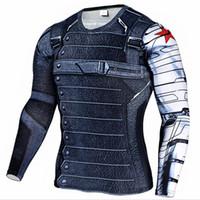 Wholesale superhero long sleeve t shirts resale online - Marvel Superhero Winter Soldier Bucky D Men T Shirt Fitness Crossfit T Shirt Long Sleeve Compression T Shirt Mens Clothing S XL