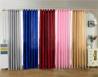 hermosas cortinas para el dormitorio al por mayor-Casa Textil Puerta Dormitorio Cortina de la ventana Cinco hermosa cortina de tela de raso Color puro Paño de perforación sólido
