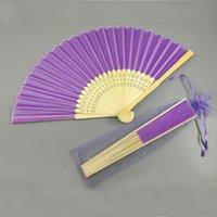 bambushandtaschen großhandel-Seide Bambus Fan Hochzeit gefallen Geschenk einfarbig Hand Faltfächer Bambus Handwerk Fans mit Garn Tasche Hochzeitsgeschenk Party Geschenk