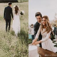 sheer wedding dresses venda por atacado-2019 Nova Elegante Sheer Vestidos de Casamento A Linha de Volta Oco de Manga Longa Trem Da Cauda Rendas Vestidos de Noiva País Boêmio Estilos