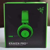 cojines para auriculares al por mayor-Auriculares analógicos para juegos Razer Kraken Pro V2 Totalmente retráctil con almohadillas de micrófono ovaladas para PC Xbox One y Playstation 4