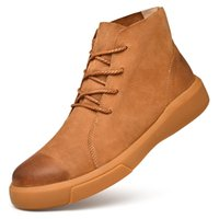 marques de chaussures chaudes achat en gros de-Vente chaude- Qualité Qualité En Cuir PU Cheville Bottes Chaussures Pour Homme Adulte Nouveau Casual Homme Chaussures Baskets Hommes Chaussures Vintage Bottes de Travail