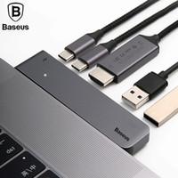 imac hdmi adaptörü toptan satış-Baseus Thunderbolt Tipi-C USB MacBook Pro için 3.1 HUB Çift USB-C HUB ile HDMI 2 K 4 K Çift USB 3.0 C Adaptörü iMac Laptop için