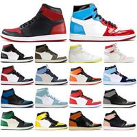 calcetines de baloncesto al por mayor-Nike AIR Jordan 1 Con socksAir libreJordánZapatos Retro 1 High baloncesto HOMENAJE A HOME GYM ROJO Chicago TOP 3 LAKERS 1s deportes zapatillas de deporte de tamaño 36-46