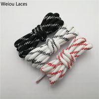 lacets noirs rouges achat en gros de-Lacets ronds de sport de Weiou noir blanc rouge lacets Bootlaces de polyester de lacets pour l'usine espadrille maladroite