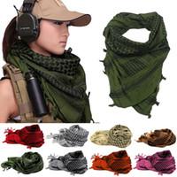 ingrosso sciarpe testa arabe-110 * 110 cm Shemagh KeffIyeh Shemagh Sciarpe musulmane Army Tactical Sciarpa araba Scialle Caccia Paintball Testa Sciarpa Desert Bandanas MMA2415