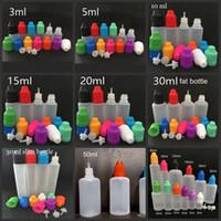 botellas vacías a prueba de niños al por mayor-E Botellas de líquidos 3ml 5ml 10ml 15ml 20ml 30ml Gotero vacío Ldpe Plástico a prueba de niños Tapas largas y delgadas Agujas para jugo Vape
