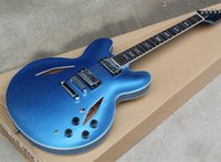 Wholesale blue electric guitars for sale for sale - Factory Whole sale Metal Blue hollow Body Electric Guitar with Pickups Chrome Hardwares White Binding