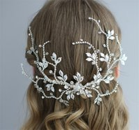 antike silberne stirnbänder großhandel-Antik Silber Kristall Braut Kopfschmuck Hochzeit Haarschmuck Stirnband Prinzessin Crown Tiara Party Prom Frauen Haarschmuck Schmuck Geschenk