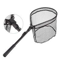 red de aluminio al por mayor-Red de pesca plegable Aleación de aluminio Malla de mano LEO Redes de pesca con mosca Mango de goma Portátil Negro Ventas calientes 31lo C1