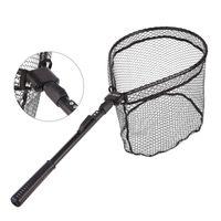 ingrosso rete in alluminio-Rete da pesca pieghevole Rete in lega di alluminio Mano LEO Reti da pesca a mosca Manico in gomma Vendite calde portatili nere 31lo C1